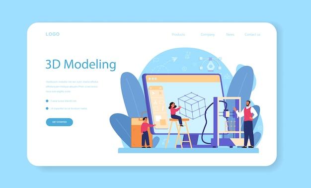 Modellazione banner web soggetto scuola o pagina di destinazione Vettore Premium