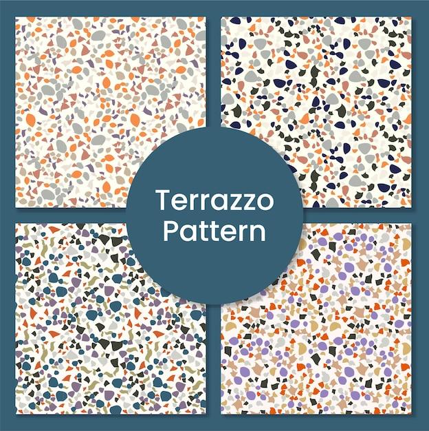 Set di pattern terrazzo moderno e astratto Vettore Premium
