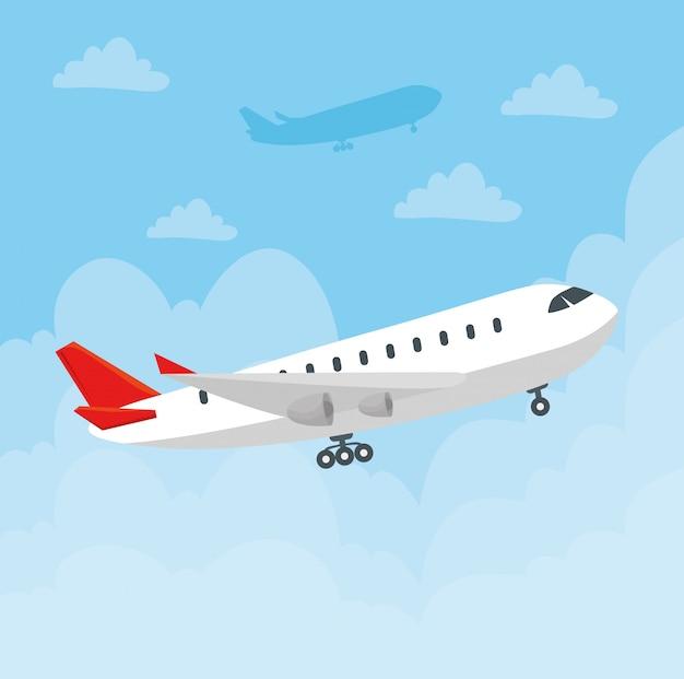 Volo moderno dell'aereo di linea, grande aereo passeggeri commerciale nel disegno dell'illustrazione di vettore del cielo Vettore Premium