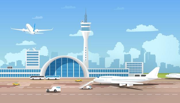 Aeroporto moderno terminal e runaway cartoon vector Vettore Premium