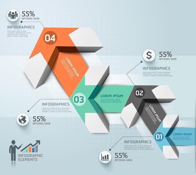 Modello di infografica freccia moderna. Vettore Premium