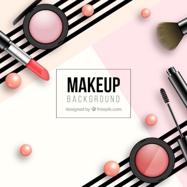 Sfondo moderno con cosmetici realistici Vettore Premium