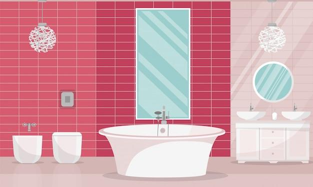 Interno del bagno moderno con vasca. mobili da bagno - vasca da bagno, stand con due lavandini, mensola con asciugamani, sapone liquido, shampoo, grande specchio orizzontale, tapparelle. illustrazione di vettore del fumetto piatto Vettore Premium
