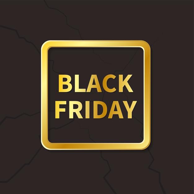 Banner moderno venerdì nero con cornice dorata Vettore Premium
