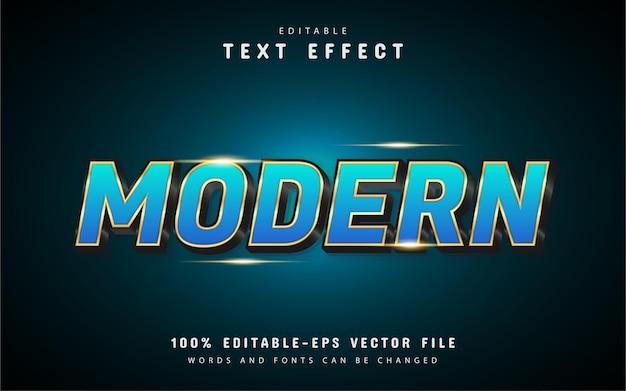 Effetto testo moderno in oro blu Vettore Premium