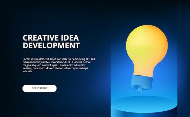 Colore di illuminazione blu moderno con illustrazione di lampada gialla 3d galleggiante per idea creativa e brainstorming. Vettore Premium