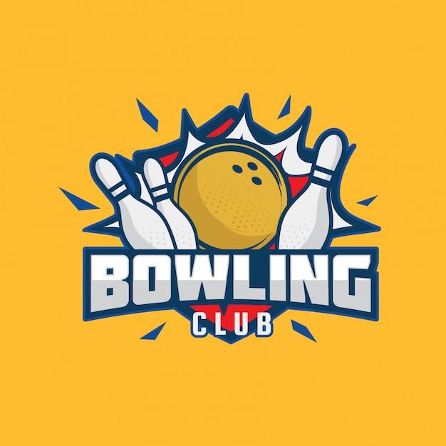 Illustrazione moderna di logo del distintivo di bowling Vettore Premium