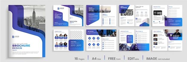 Design moderno modello di brochure con forme di colore sfumato Vettore Premium
