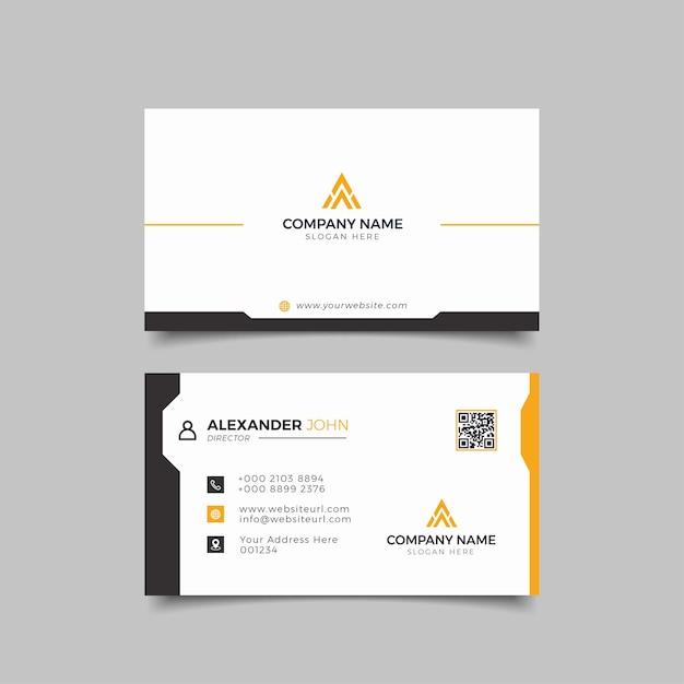 Biglietto da visita moderno nero e arancione elegante professionale Vettore Premium