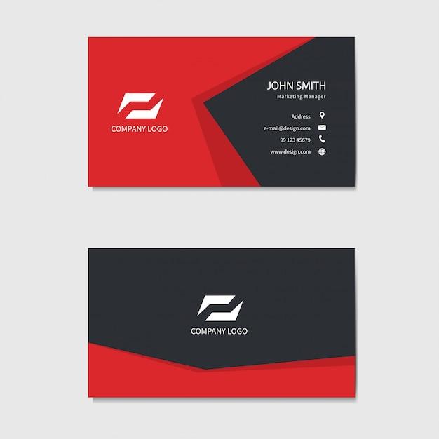 Modello moderno di biglietto da visita. sfondo rosso Vettore Premium