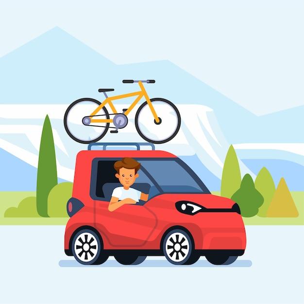 Auto moderna con bicicletta montata sul portapacchi. illustrazione Vettore Premium