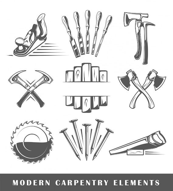 Strumenti di carpenteria moderni Vettore Premium