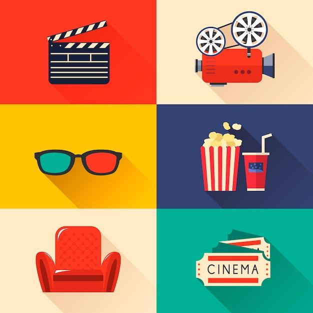 Icone del cinema moderno impostate in stile Vettore Premium