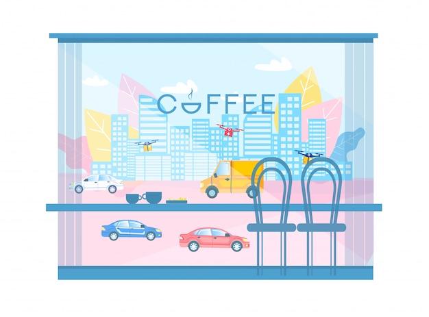 Vista moderna del fumetto della città dalle finestre della caffetteria Vettore Premium