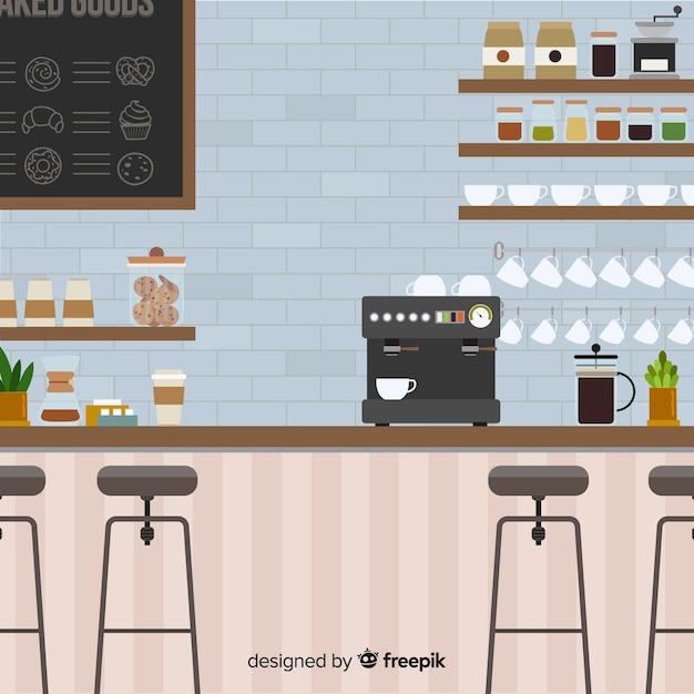 Interiore moderno della caffetteria con design piatto Vettore Premium