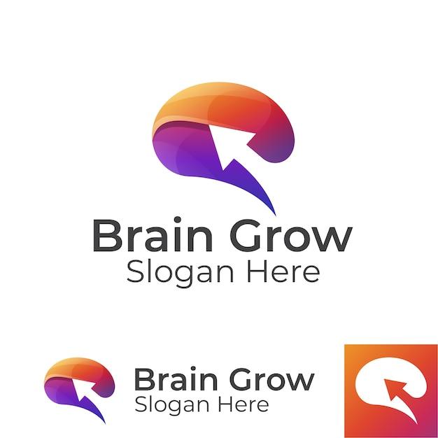 Il cervello moderno dei colori cresce con il logo della freccia, il cervello aggiornato, il design del logo delle persone intelligenti Vettore Premium