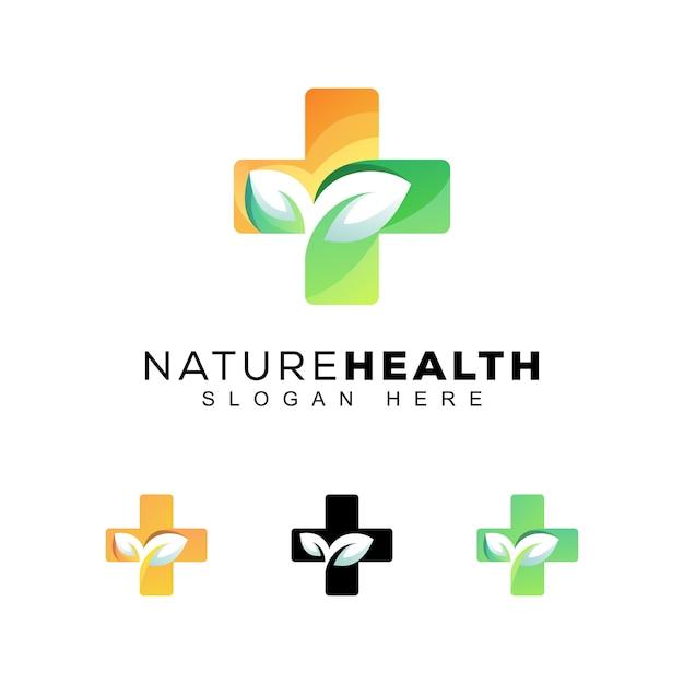 Logo di salute natura colore moderno Vettore Premium