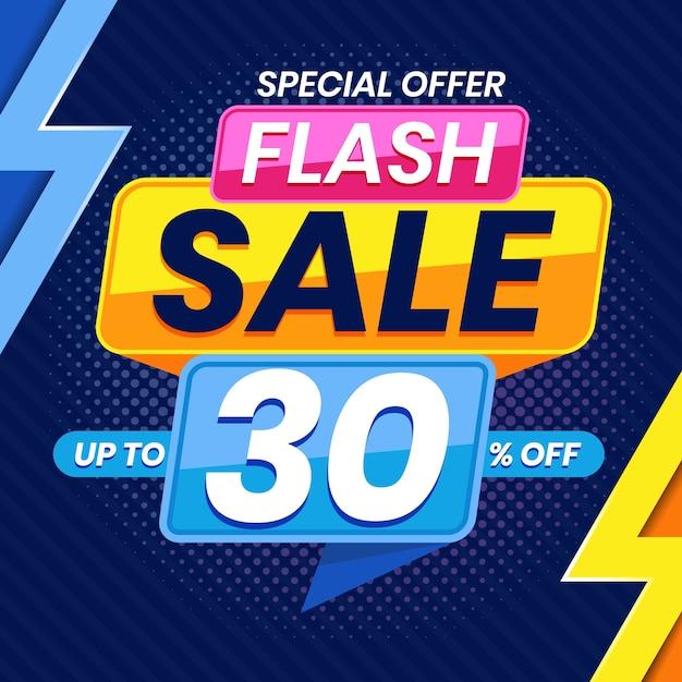 Banner pubblicitario di vendita flash colorato moderno Vettore Premium