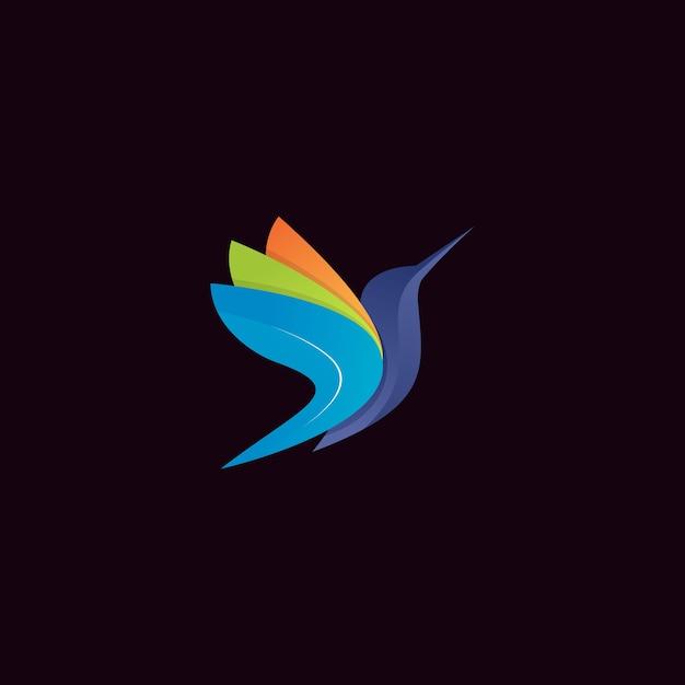 Logo moderno colibrì colorato Vettore Premium