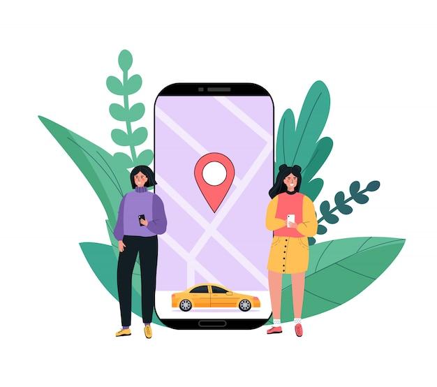 Auto a noleggio moderna, servizio di car sharing in qualsiasi luogo della città. le persone usano l'applicazione mobile sul telefono. Vettore Premium