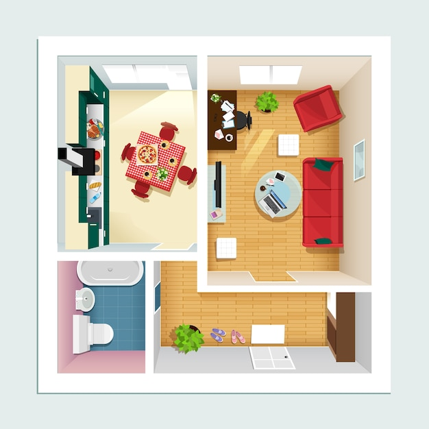 Pianta moderna dettagliata per appartamento con cucina, soggiorno, bagno e ingresso. Vettore Premium