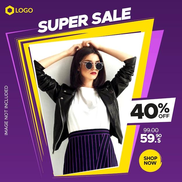 Insegna dinamica moderna di vendita per il web e il instagram post con la struttura astratta Vettore Premium