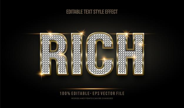 Stile di testo modificabile moderno effetto oro e glitter lucido. stile del carattere modificabile. Vettore Premium