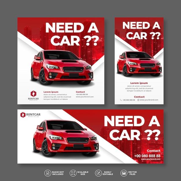 Noleggio auto moderno ed elegante e vendita bundle bandiera rossa set Vettore Premium