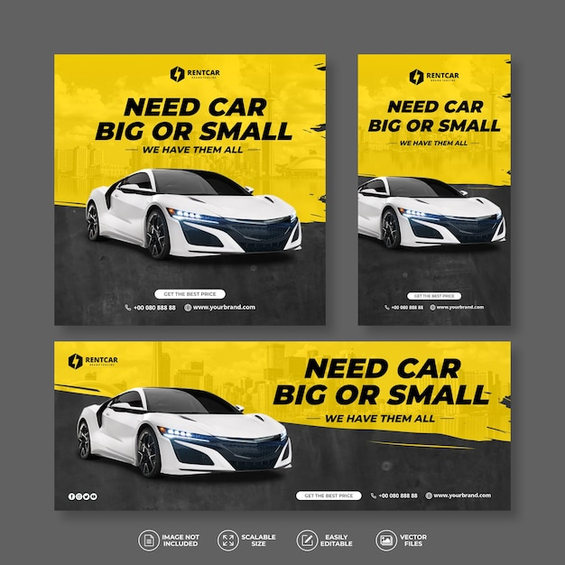 Moderno ed elegante noleggio auto e vendita bundle banner giallo set Vettore Premium