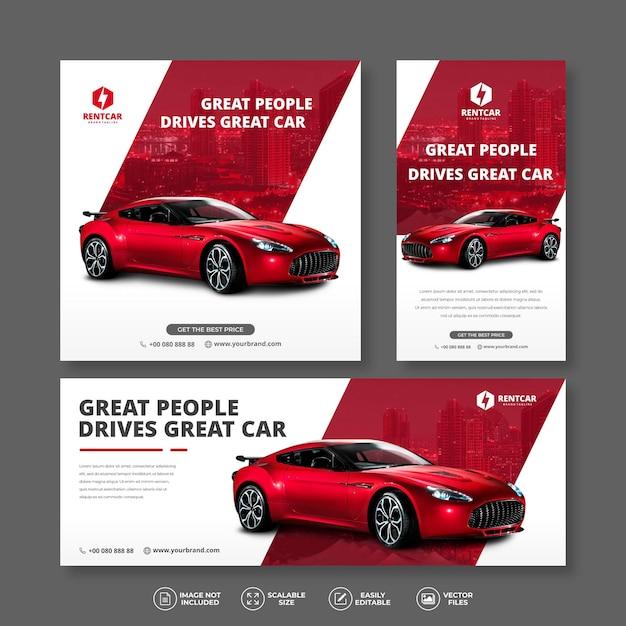 Moderno ed elegante noleggio auto rossa e vendita pacchetti banner set Vettore Premium