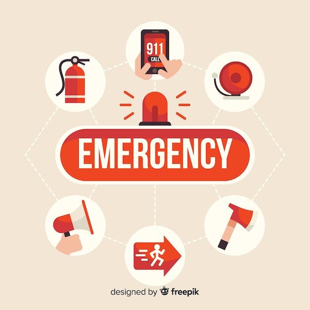 Concetto moderno di parola di emergenza con design piatto Vettore Premium