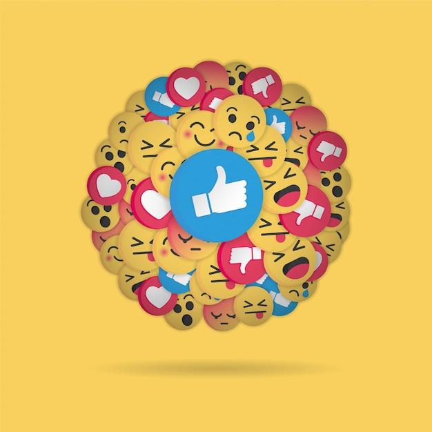 Design moderno emoji su sfondo giallo Vettore Premium