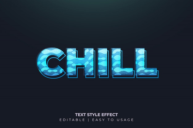 Effetto stile grassetto moderno congelato con sfumatura blu Vettore Premium