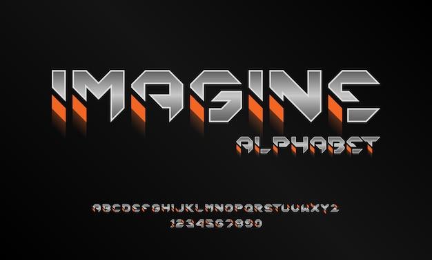 Carattere alfabeto futuristico moderno. caratteri tipografici in stile urbano per tecnologia, digitale, design del logo del film Vettore Premium