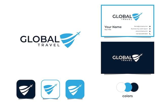 Viaggio globale moderno con logo aereo e biglietto da visita Vettore Premium