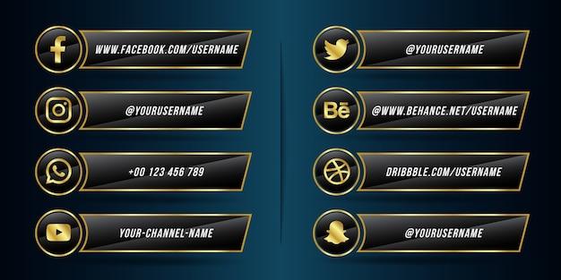 Collezione di icone del terzo inferiore dei social media dorati e neri moderni Vettore Premium