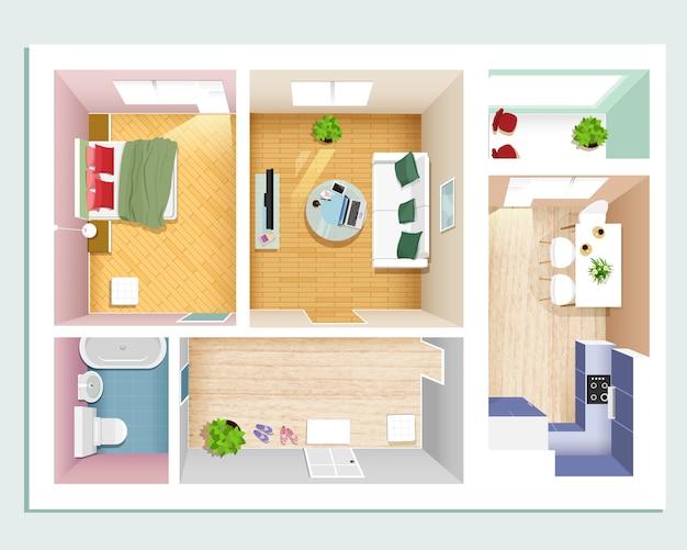 Appartamento moderno con vista dall'alto: camera da letto, soggiorno, cucina, sala e bagno Vettore Premium