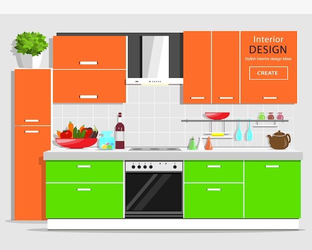 Interiore della cucina grafica moderna. cucina colorata con mobili. elettrodomestici da cucina e da casa. illustrazione. Vettore Premium