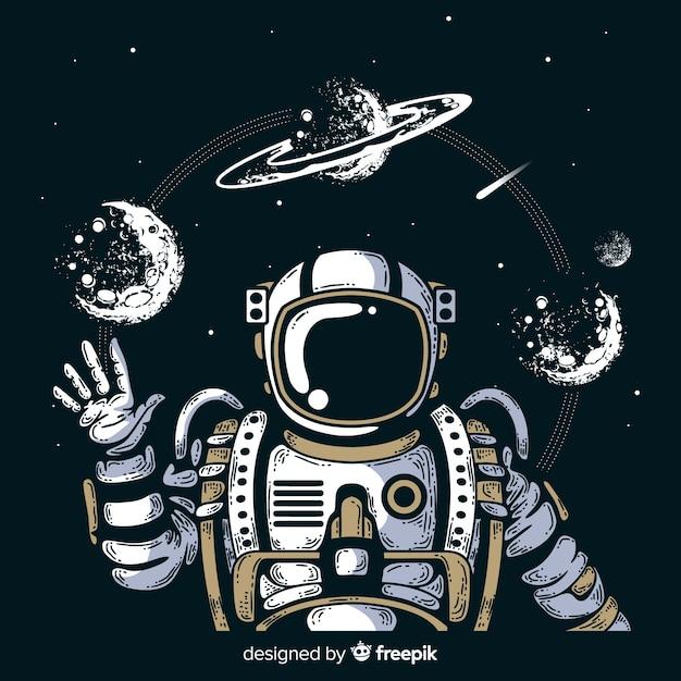 Personaggio moderno astronauta disegnato a mano Vettore Premium