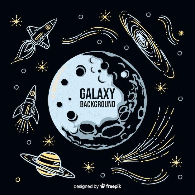 Sfondo di galassia disegnato a mano moderna Vettore Premium
