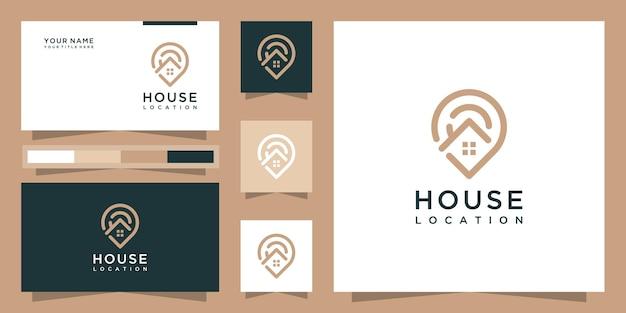Logo della posizione della casa moderna con stile art line e design di biglietti da visita Vettore Premium