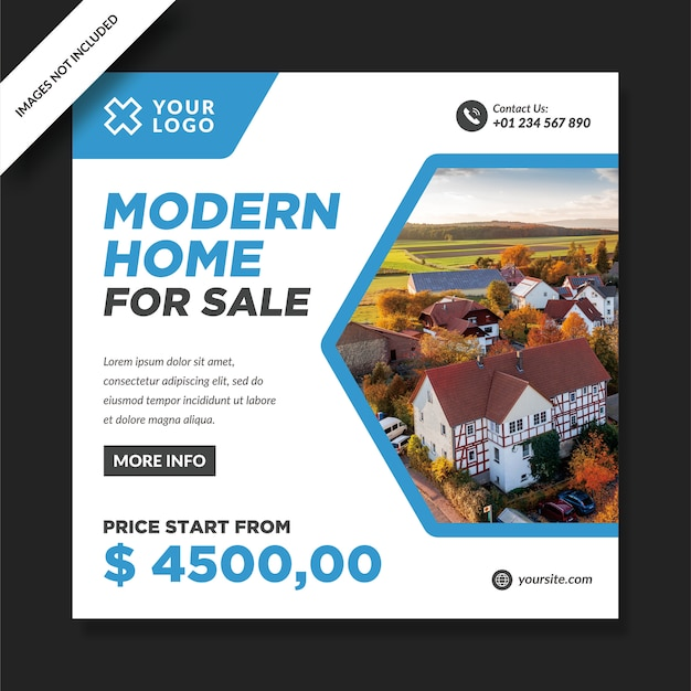 Casa moderna in vendita design di promozione instagram Vettore Premium