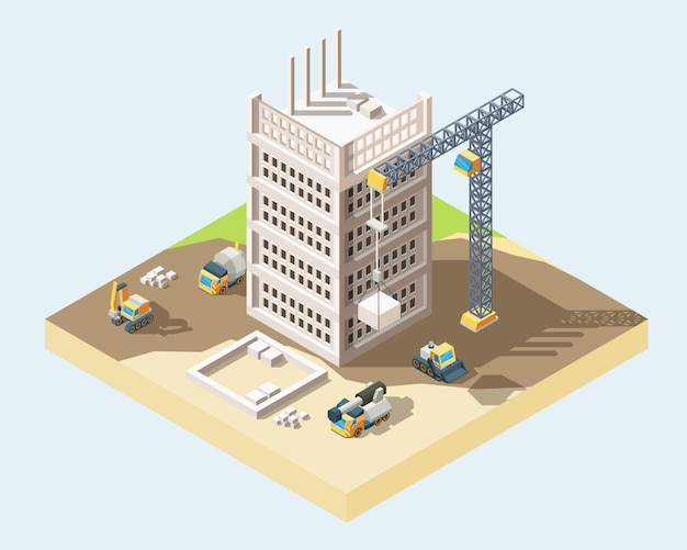 Illustrazione isometrica di vettore 3d di processo di costruzione della casa moderna Vettore Premium