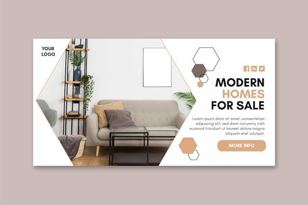Modello di banner di case moderne Vettore Premium