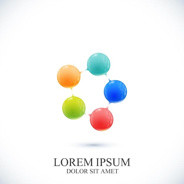 Icona moderna dna e molecola. modello per medicina, scienza, tecnologia, chimica, biotecnologia Vettore Premium