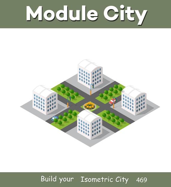 Illustrazione moderna per il gioco di design e lo sfondo di forma aziendale città isometrica del modulo dall'architettura vettoriale di edificio urbano. Vettore Premium