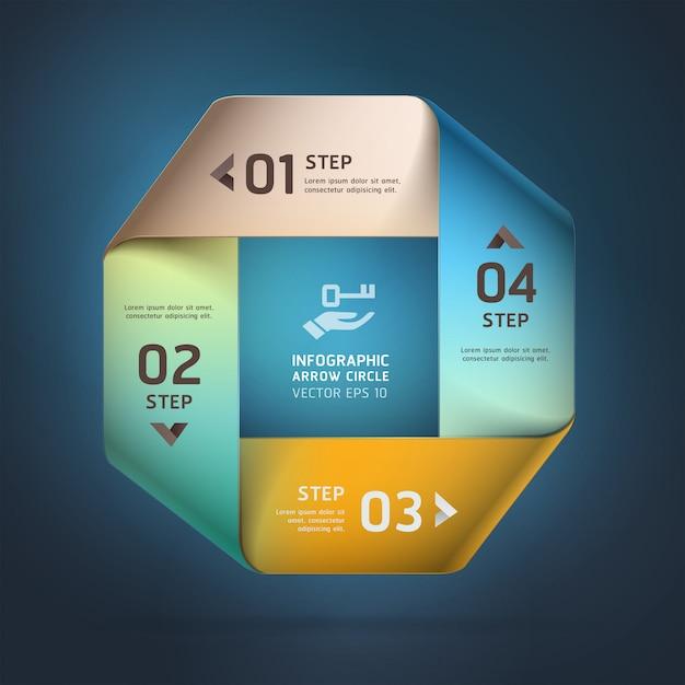 Opzioni di stile origami quadrati moderni e infiniti. layout del flusso di lavoro, diagramma, opzioni di passaggio, web design, opzioni di numero, infografica. Vettore Premium
