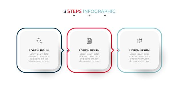 Modello moderno di infografica con icone e frecce Vettore Premium