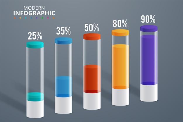 Illustrazione moderna di vettore del cilindro del modello di infographics Vettore Premium
