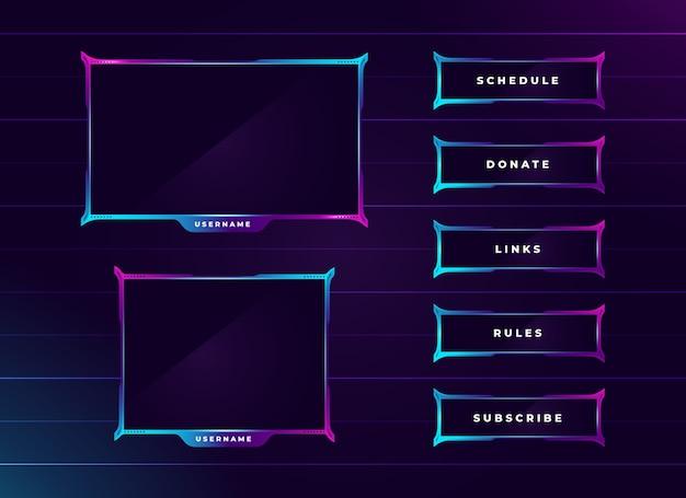 Moderno set di pannelli per lo streaming di twitch color neon Vettore Premium